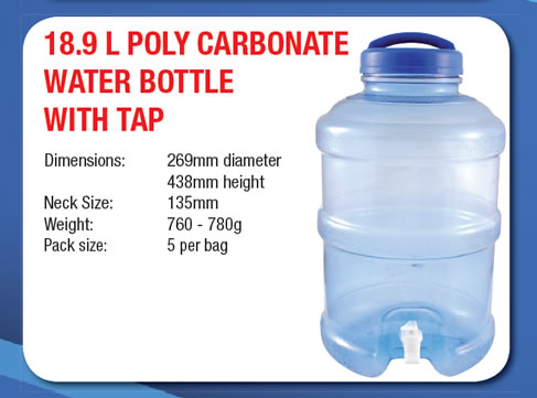 18.9 Litre Poly Carbonate Water Bottle with Tap
