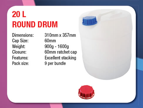 20 Litre Stackable Round Drum