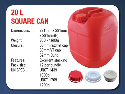 20 Litre Stackable Square Can