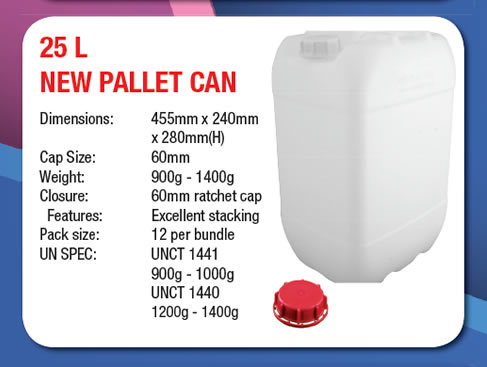 25 Litre Stackable New Pallet Can