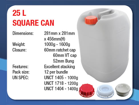 25 Litre Stackable Square Can