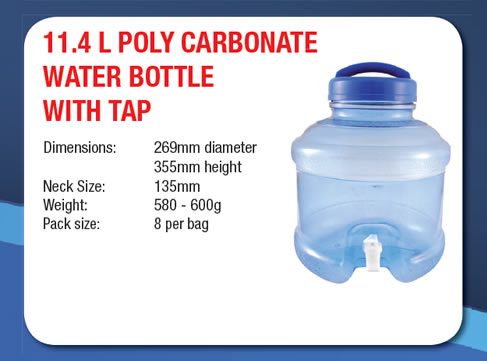 11.4 Litre Poly Carbonate Water Bottle with Tap