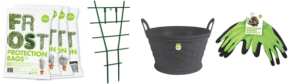 Plastic plant protection bags, rubber gloves, and plant ladder